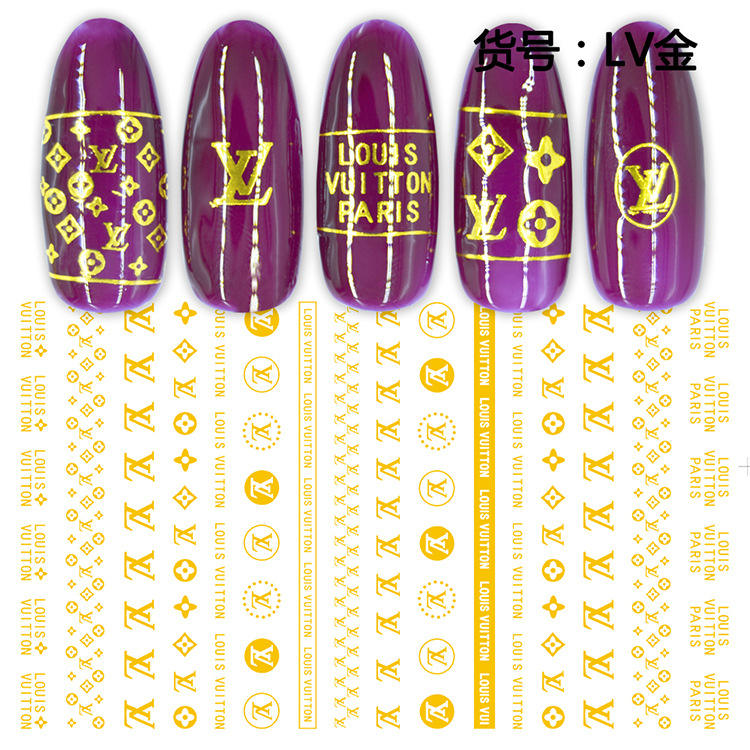 2020 Adhesive Glow in Dark Nail Sticker Luxury Designer Name Brand Logo Nails Stickers