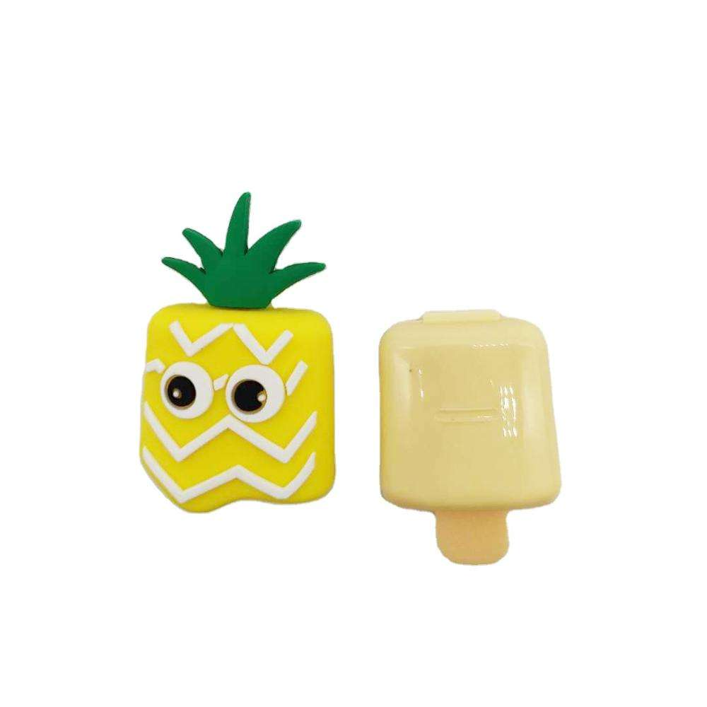 Silicone material pineapple shape yellow big eyes empty lipstick case