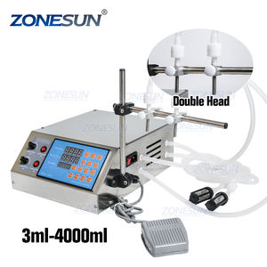 ZONESUN 2 Heads Semi Automatic Diaphragm Pump Liquid Filling Machine For Liquid Perfume Water Juice Essential Oil