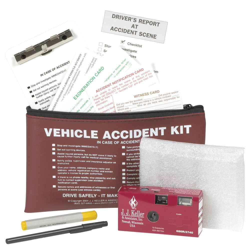 Vehicle Accident Kit + 35mm Film Disposable Camera in Vinyl Pouch - Collect, Organize & Report Vehicle Accident Info