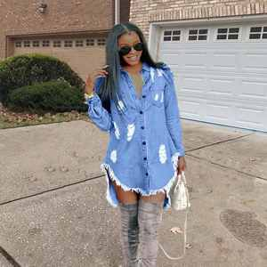 Bunny D8217 top seller Solid color casual dress women Latest Design AUTUMN clothes women sexy Denim dress
