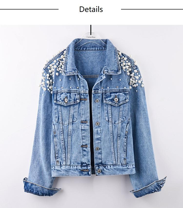 Spring Autumn Popular Casual Women Pearl Jacket Light Blue Denim Jackets For Girls