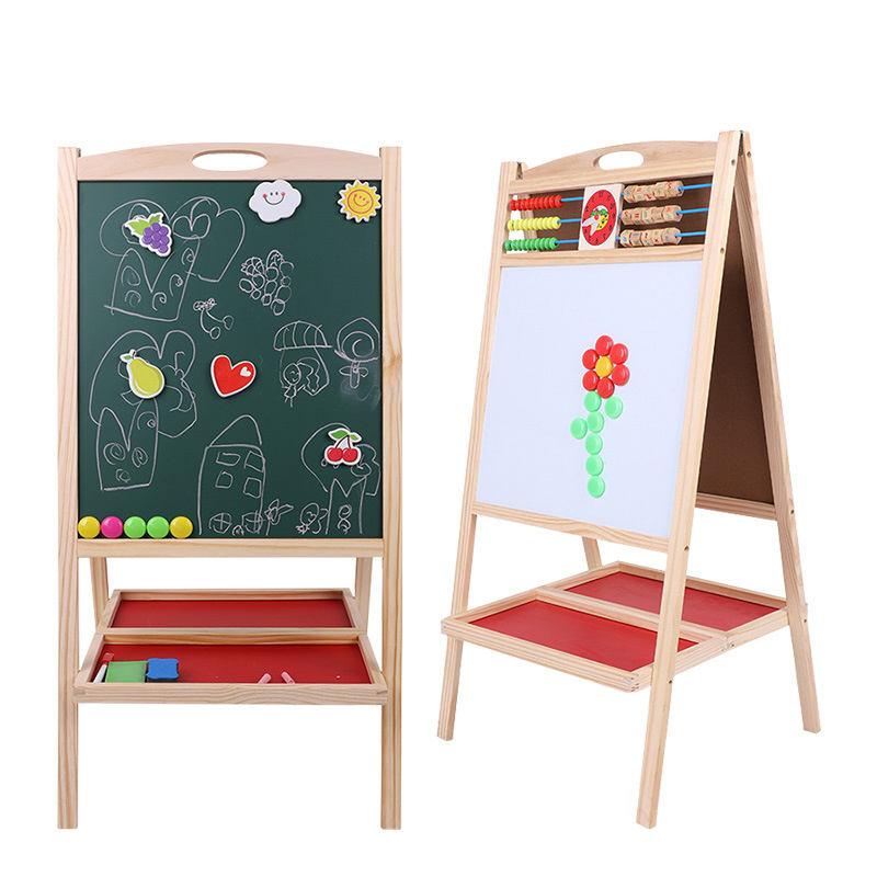 Rustic Wood A-Frame LED Easel Chalkboard Erasable Drawing Memo Board Stand Shelf