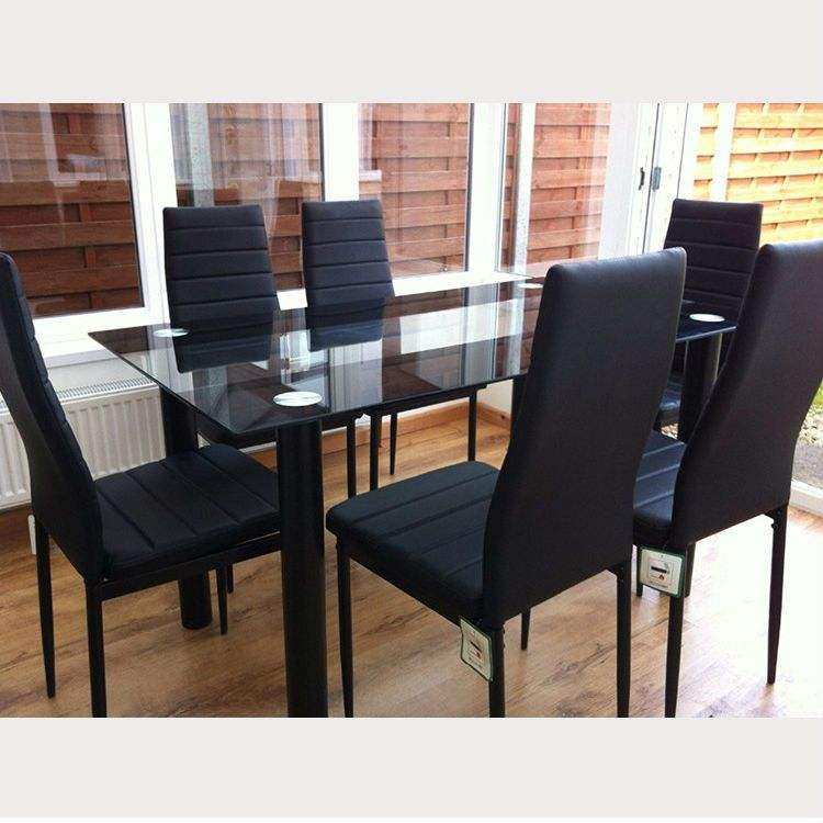 black comedor small tempered glass dining table set modern luxury modern patio cheap dining set for sale