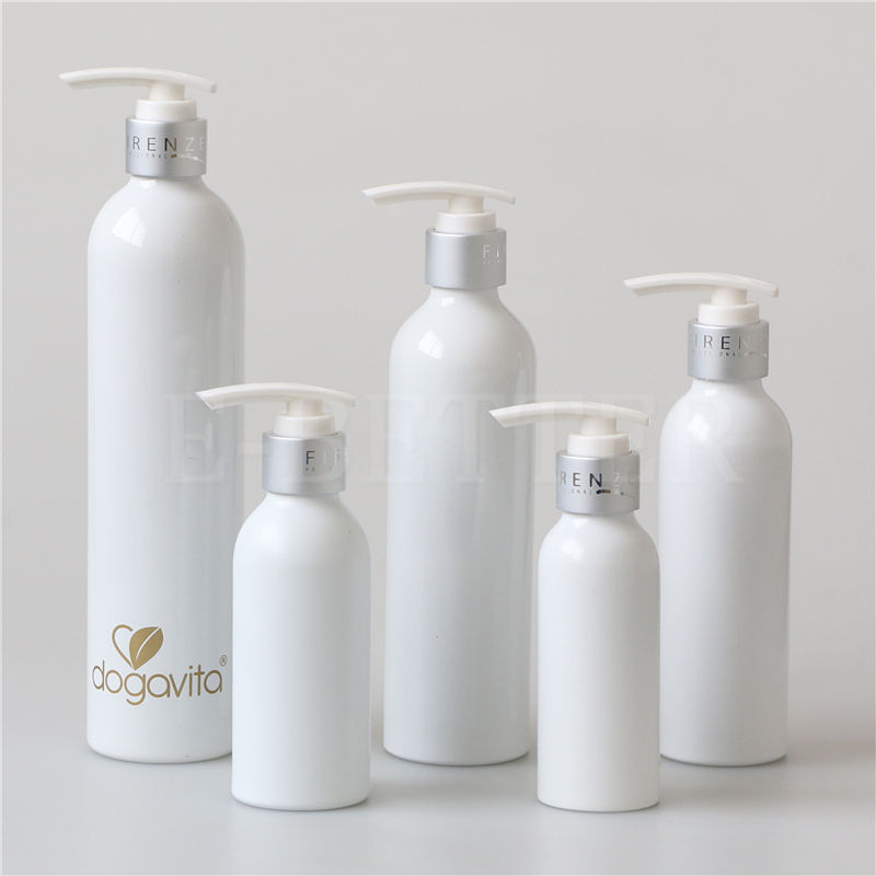 Glossy white 50ml 100ml 200ml 250ml 500ml 750ml aluminum shampoo bottle lotion pump