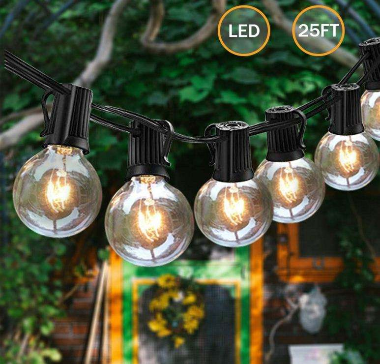 100Ft G40 String Lights 100 Edison Style Globe Bulbs Black Wire connectable Outdoor led Light String