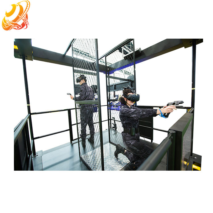 9D Vr Simulator Shooting Game Machine 2 Spelers Lopen Platform Virtual Reality Simulator