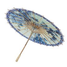 White Japanese Wholesale Blank Oil Paper Handmade Children DIY Painting Bamboo Chinese Umbrella Paper Small Decorative Parasols