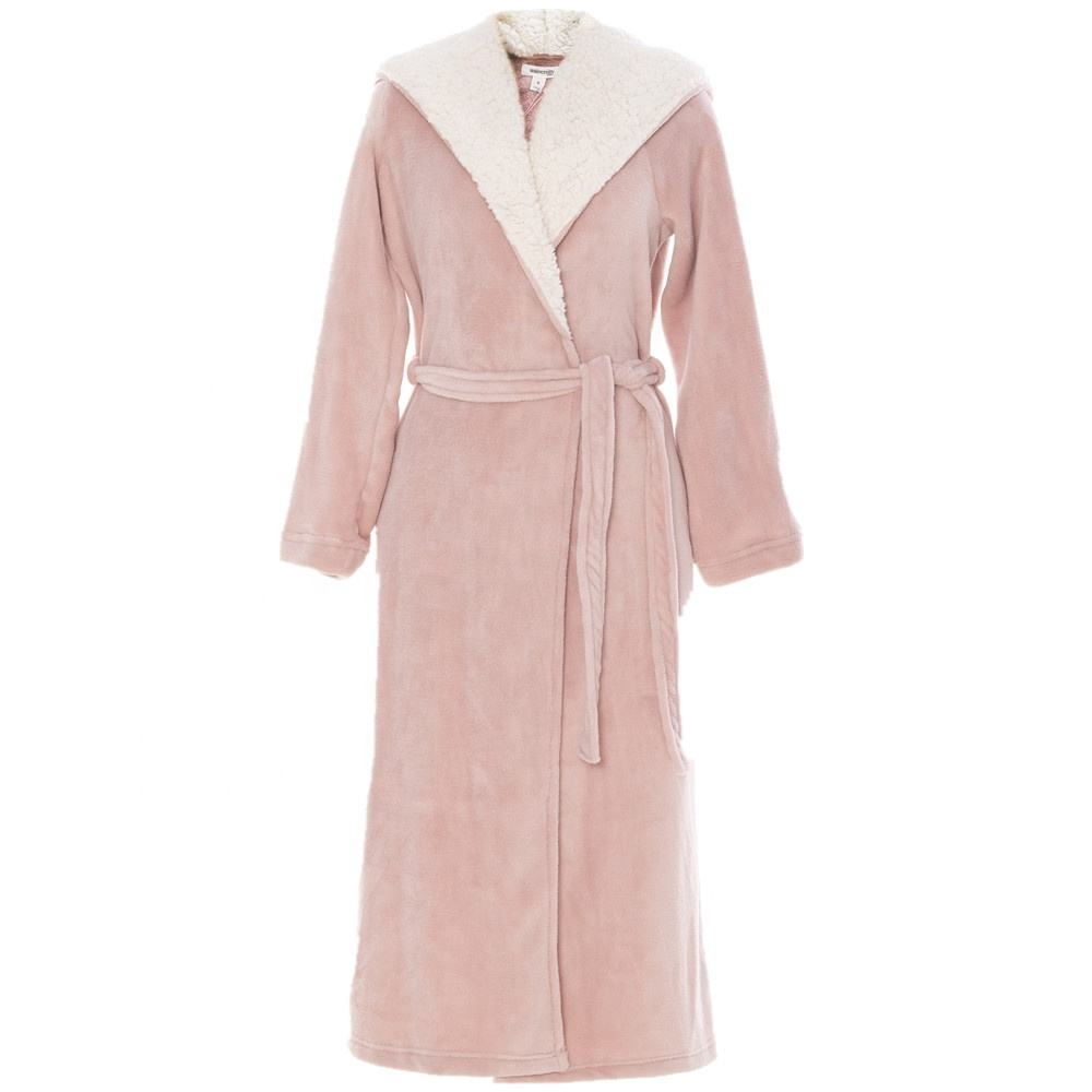 women's hooded robe with sherpa hood lining ladies Gown