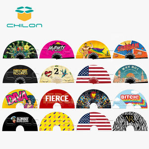 Custom printed folding wholesale fabric hand fan as promotional gifts