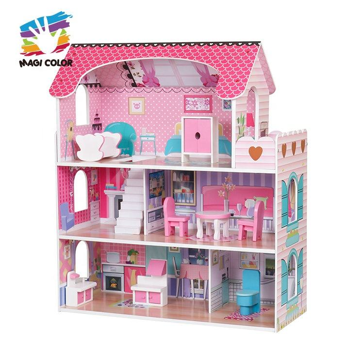 Wood House For Dolls Ready To Ship Baby Pink Wooden Doll House For Role Play W06A380