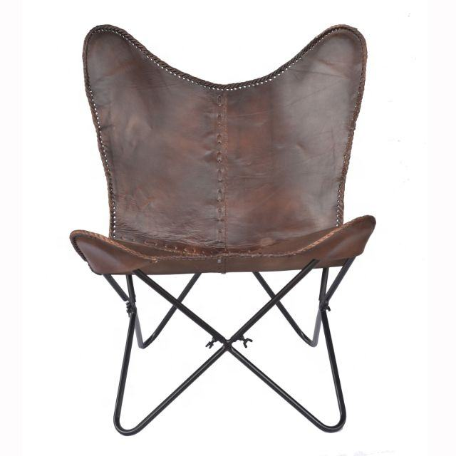 Genuine Leather Modern Folding Butterfly Lounge Chair Relaxing Chair For Living Room/garden