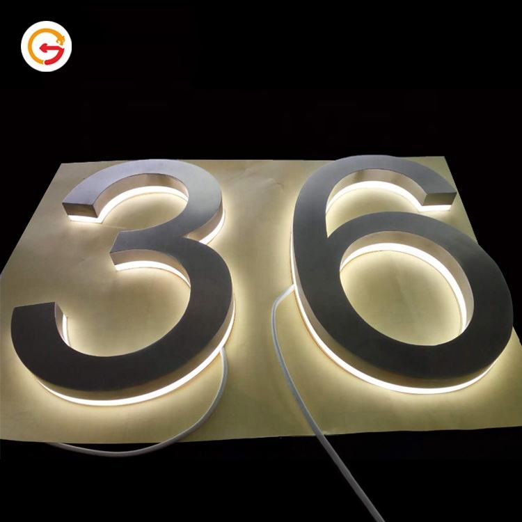 JAGUARISGN Custom Laser Cutting Metal 3D Illuminated House Numbers and Led House Number Sign with Led Backlit