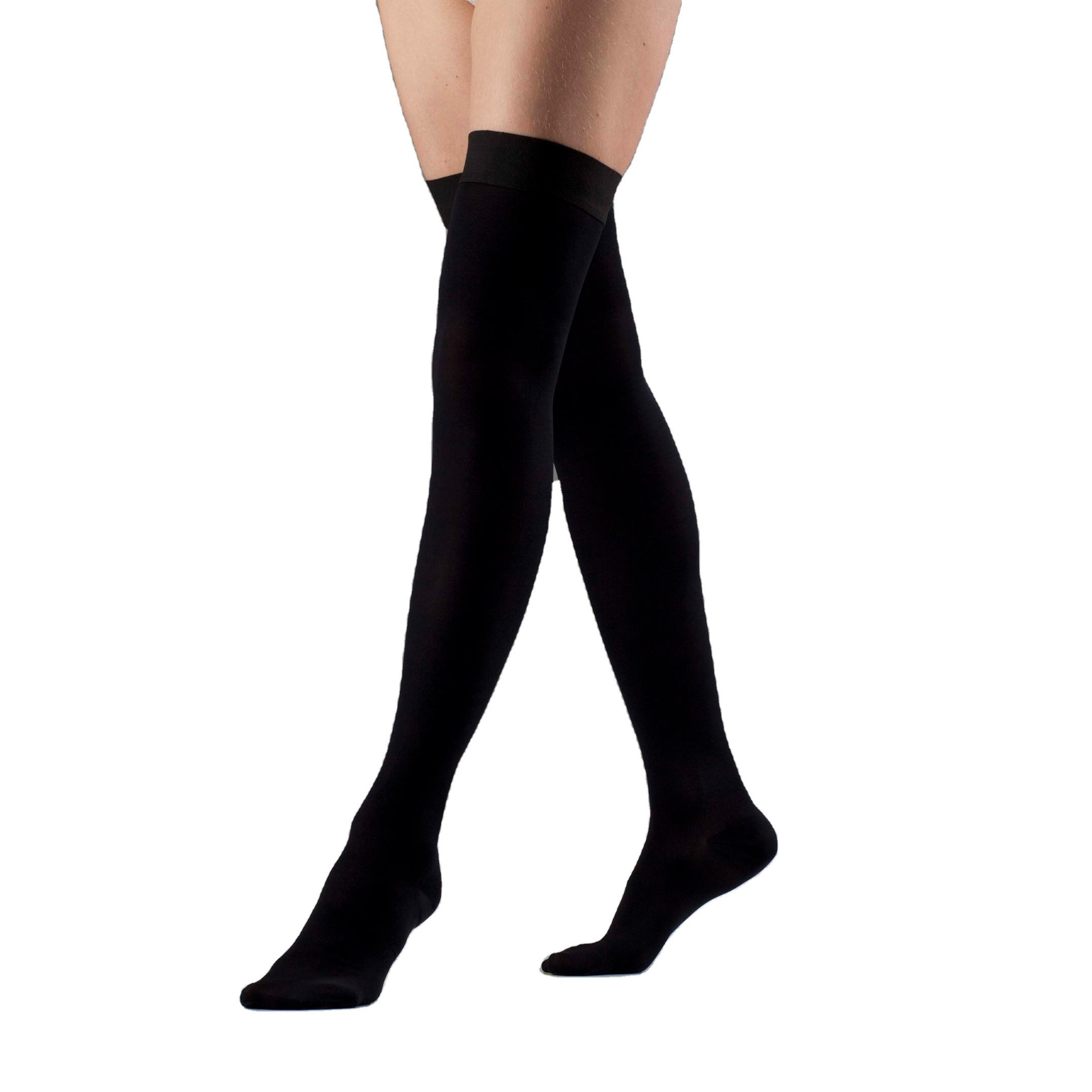 Comfort and Support Series Thigh High Black Low Compression Medical Stockings
