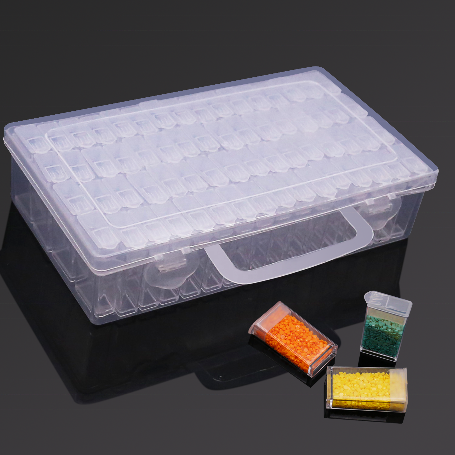 Diamond Painting Storage Box with 64 Grids Portable Bead Storage Container Diamond Painting Accessories