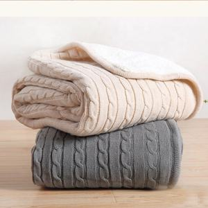 Wholesale hot sell winter 100% acrylic cable knitted sherpa fluffy and warm faux sheepskin polyester microfiber blanket