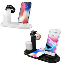 Brand new technology 6-IN-1 Smart Charging Stand Dock Station Desktop Wireless Charger for headphones mobile smartphone