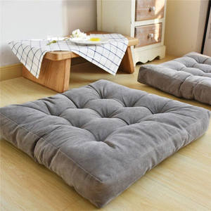Solid square Seat Cushion, Polyester Pillow Seat Corduroy Chair Pad Tatami Floor Cushion for Living Room