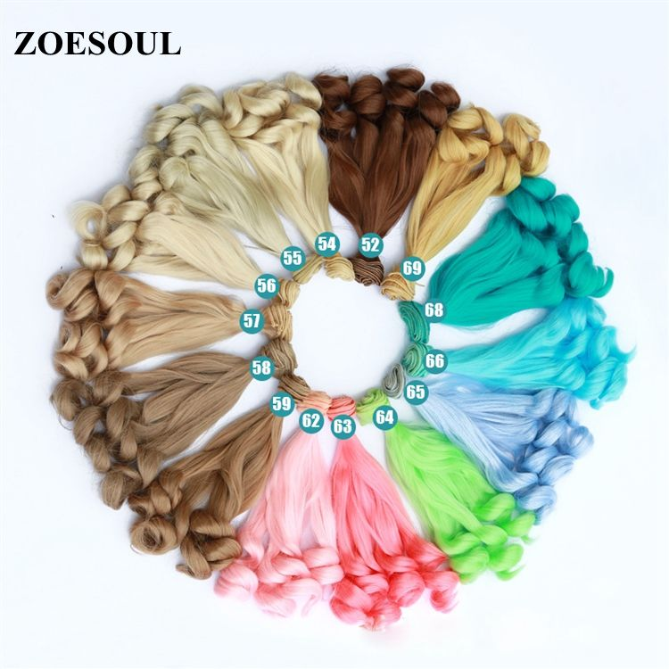 Factory Manufacturer DIY BJD SD Doll Water Wave Synthetic Hair Weft for Making Wig