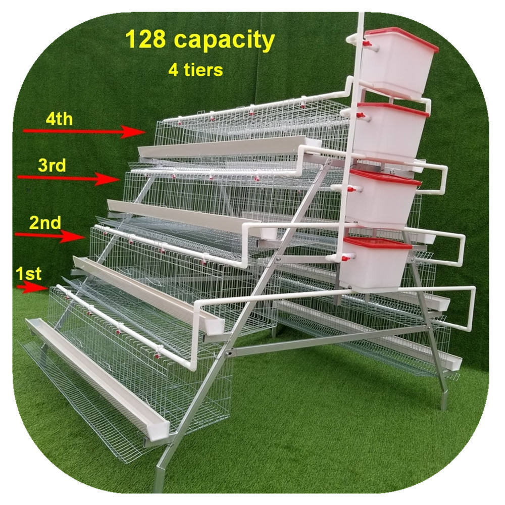 4 Tiers 128 Capacity Design Layer Chicken Poultry Battery Cages Price