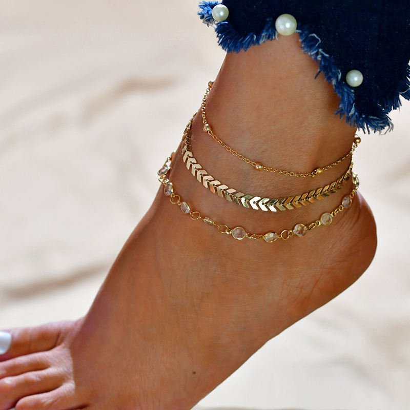 HOVANCI 14K gold plated sequins ankle bracelet for women ankle bead chains bracelets beach foot anklets