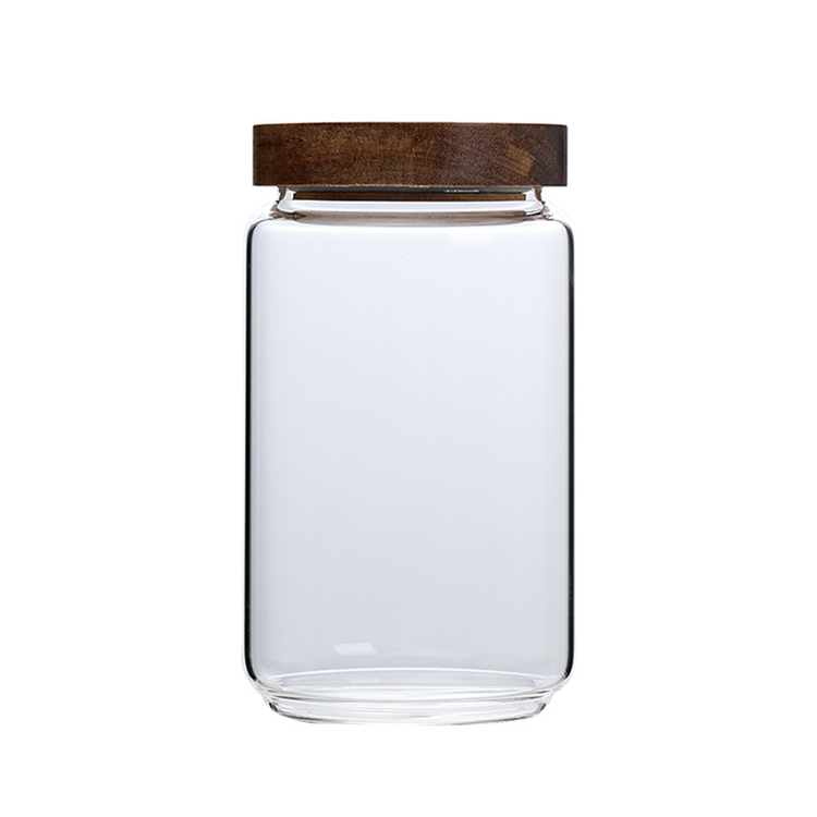 Wholesale cheap acacia wood 250ml 450ml 750ml 950ml storage glass jar with sealed lid Borosilicate glass with acacia wood lid