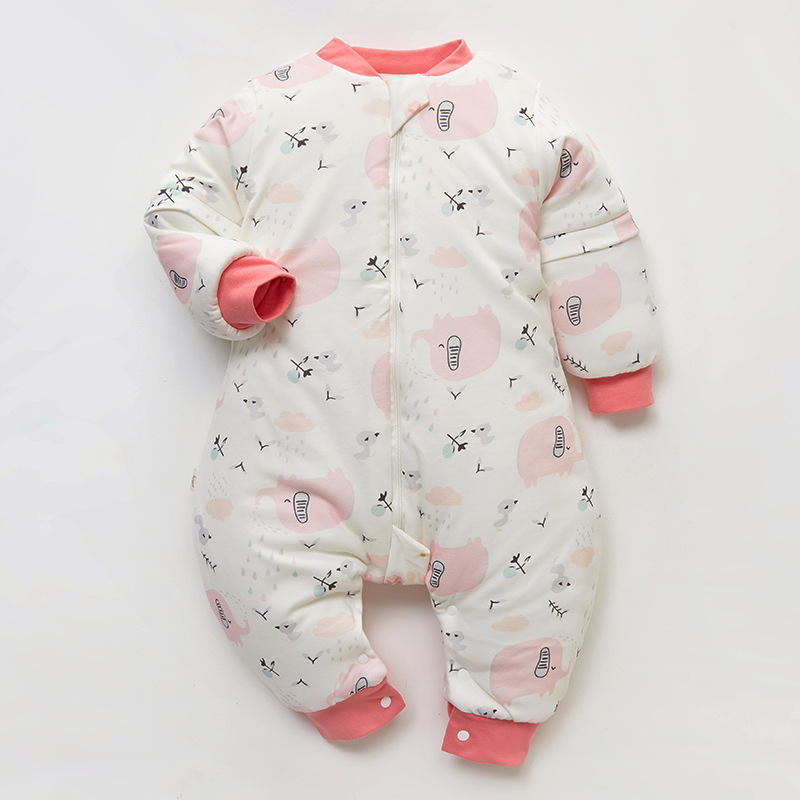 Custom printing thick With three end zipper baby Cent leg cotton sleeping bag