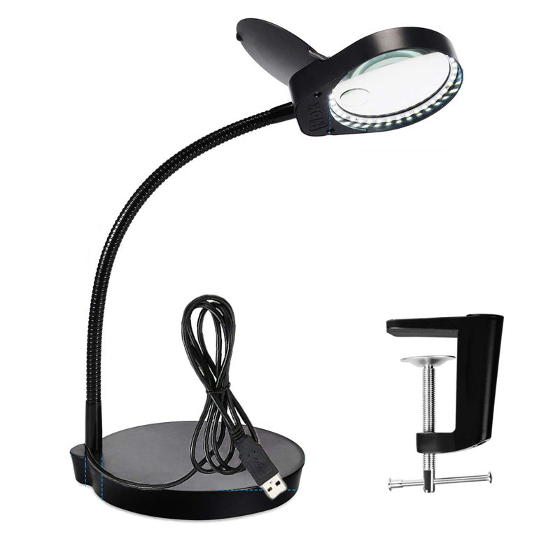 LED Magnifying Lamp with clamp and base for nail beauty and elderly reading