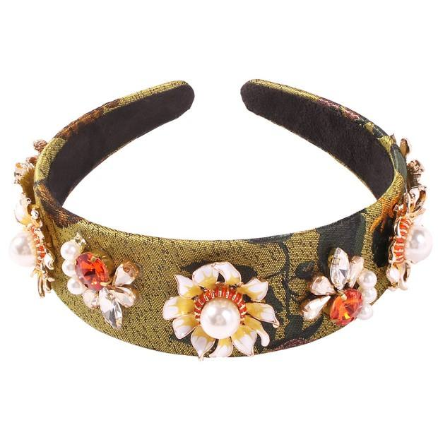 New fashion retro diamond pearl wide-brimmed headband manufacturers wholesale custom women headband hairband flower