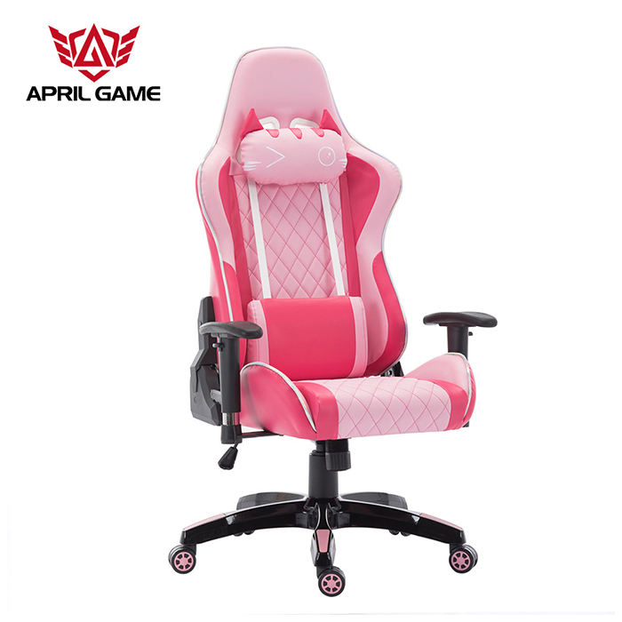 High Back Ergonomic Swivel Adjustable PU Leather Computer Silla Gamer Girl Women Pink Gaming Chair
