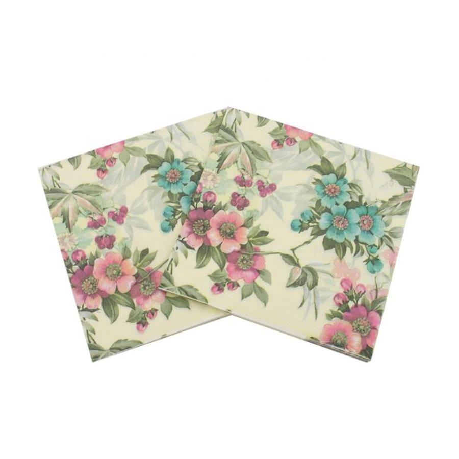 33x33cm Floral Decorative Paper Napkins, 2-Ply Cocktail Beverage Napkins For Wedding Birthday Dinner Lunch