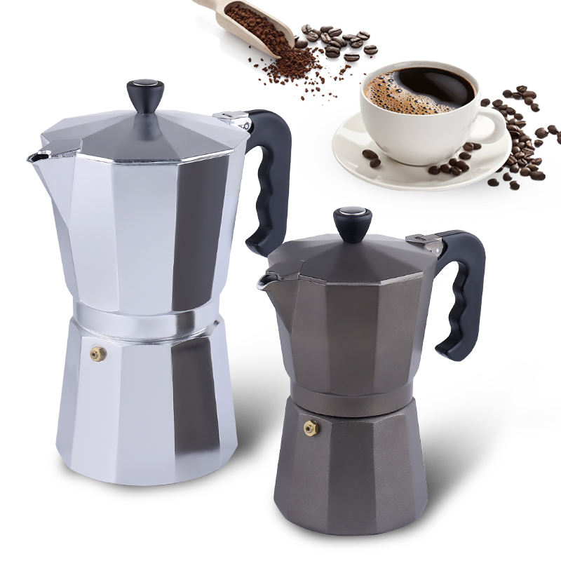 Stovetop Aluminum Espresso Coffee Maker Coffee Machine, Moka pot aluminum with Stainless steel coffee Filter Electric Mocha pot