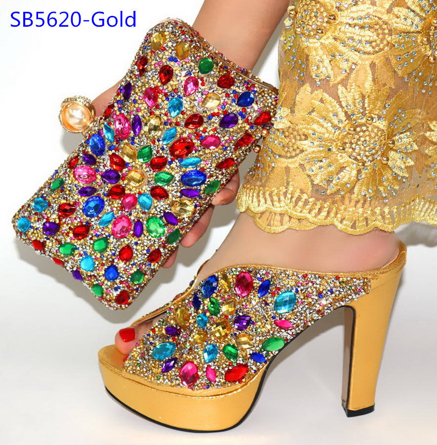 Italian shoes bag set luxury stones shoes and bag gold female shoes matching bag