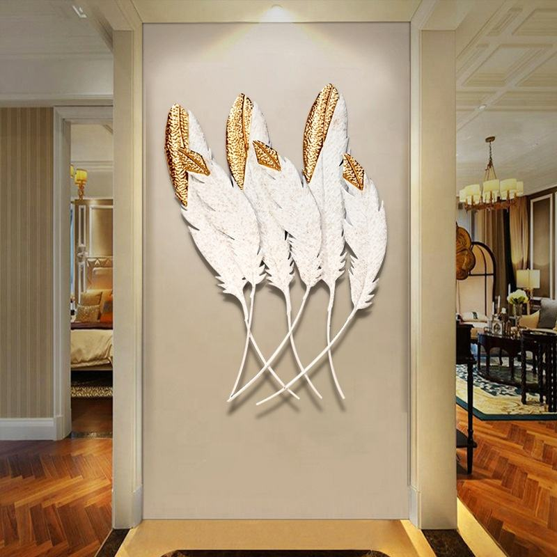 Home Decorative 3D feather Shape Wall Decor Lobby Wrought Iron Interior Frame Art Hanging House Decoration