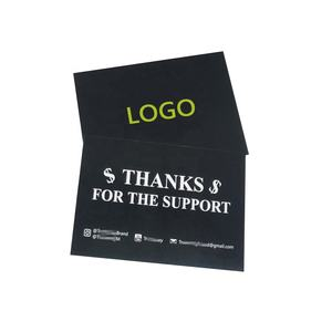 2020 custom design paper black card thank you cards for shopping printing with logo