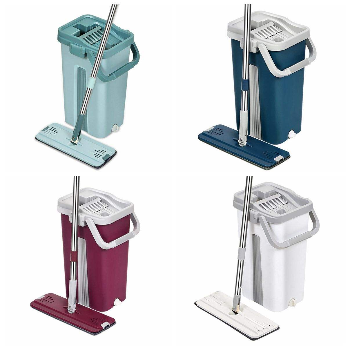 2020 Flat Mop and Bucket Hand Free Washing Floor Cleaning Mop Wet & Dry Usage