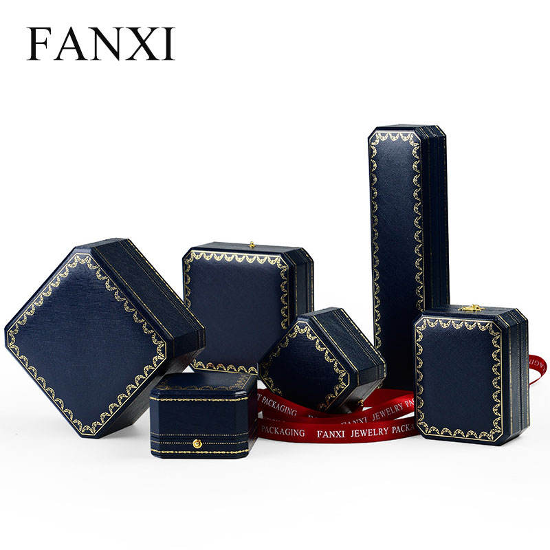 Morden Royal Blue Leatherette Paper Big Pendant Box Octagonal Shape White Leather Inside Jewelry Box With Button