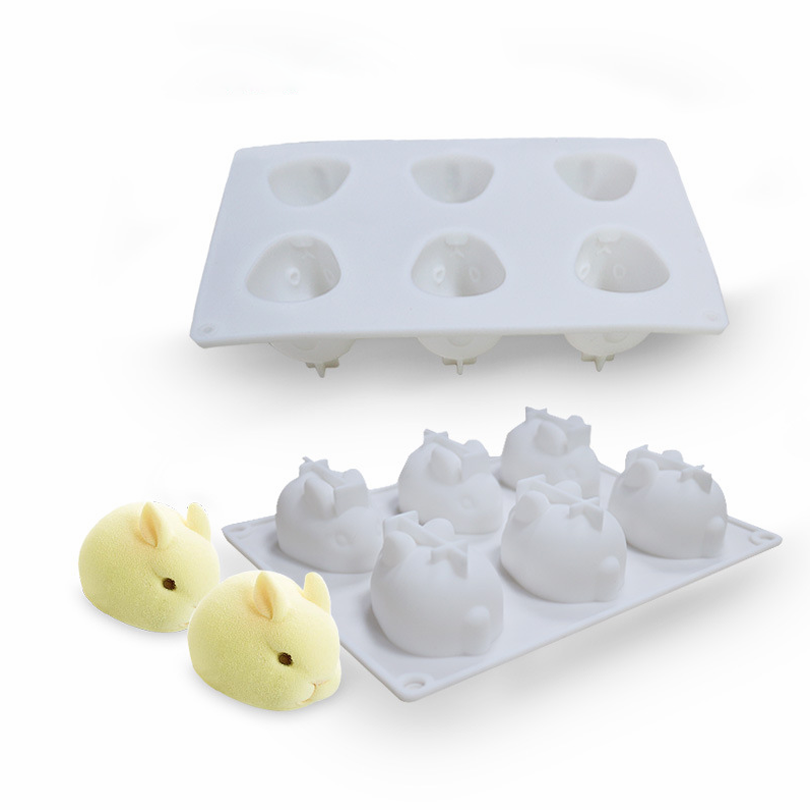 6-hole 3D rabbit pudding mold diy silica gel mold bake web celebrity cake mold mousse lane stock