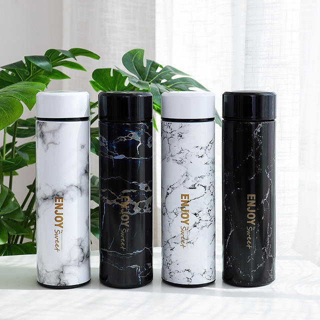 CHUFENG 2020 New Marble Design 500ml Private Label Coffee Cup Mug Travel Stainless Steel Thermos Bottle Tea Infused Water Bottle
