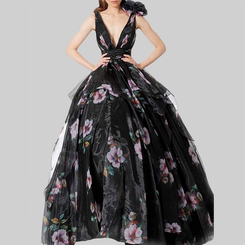 black printed embroidered V neck open back plus size high waist sleeveless chiffon prom long women evening dress