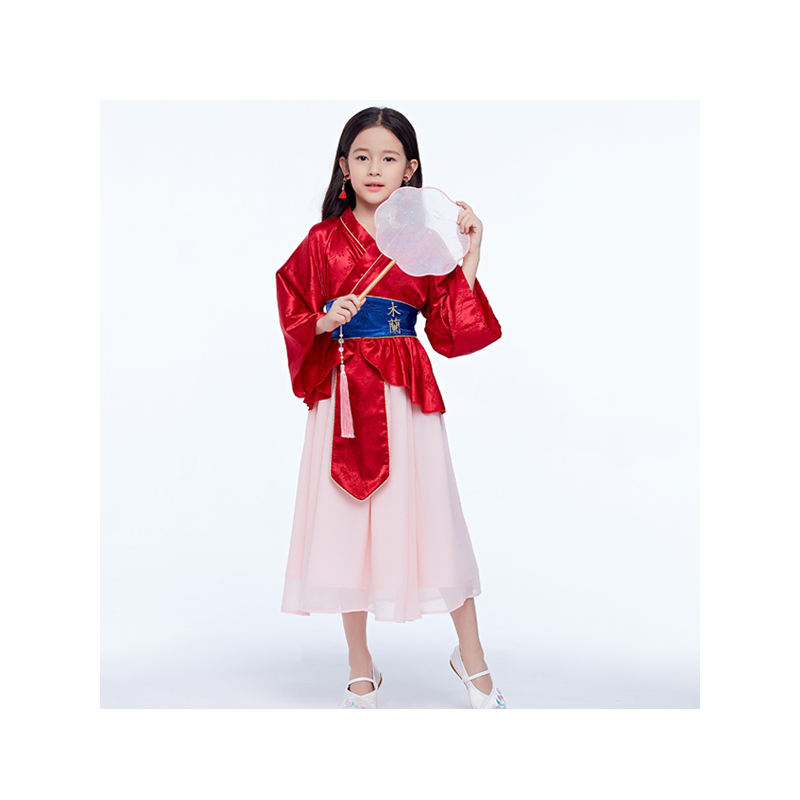 Girl Fancy Role Play Halloween Festival And Birthday Cosplay Party Deluxe Mulan Dress For Girls
