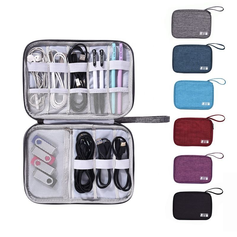 Oblate Usb Charge Cable Organizer Travel Digital Electronics Accessories Storage Bag