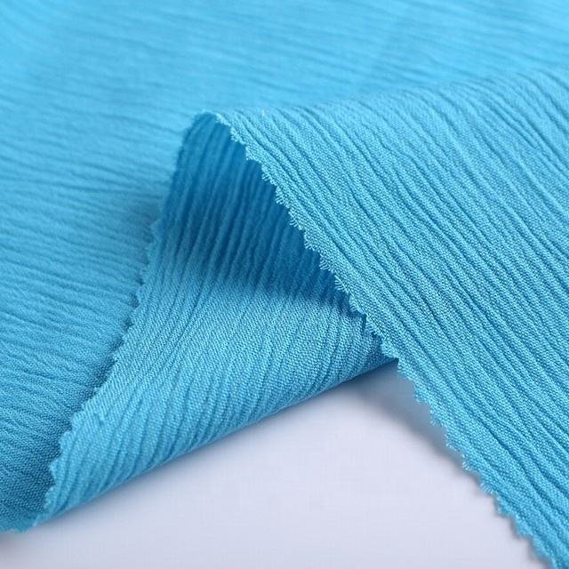 New design comfortable woven 100% viscose crinkle crepe blue chiffon fabric for scarf