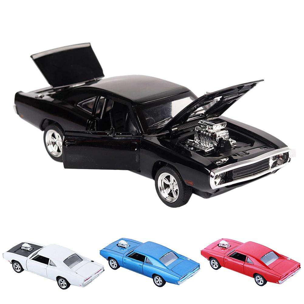 1PC 1:32 Car Dodge Charger Diecast Metal Model Car 4 Colors Sound And Light Pull-back Vehicle Toys For Children