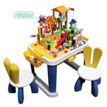 High quality children DIY kindergarten educational plastic bricks toy baby temperature resistance indoor building blocks table