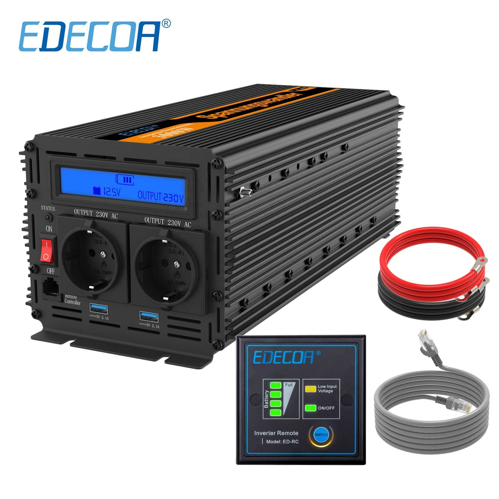 EDECOA 3000W 6000W DC 12V AC 220V 230V modified sine wave power inverter with remote controller and USB LCD