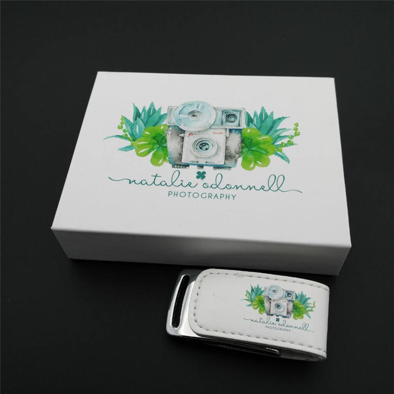 New Customized Logo Pendrive White Leather USB 3.0 Flash Drive Wedding Gift with Metal Box Packings