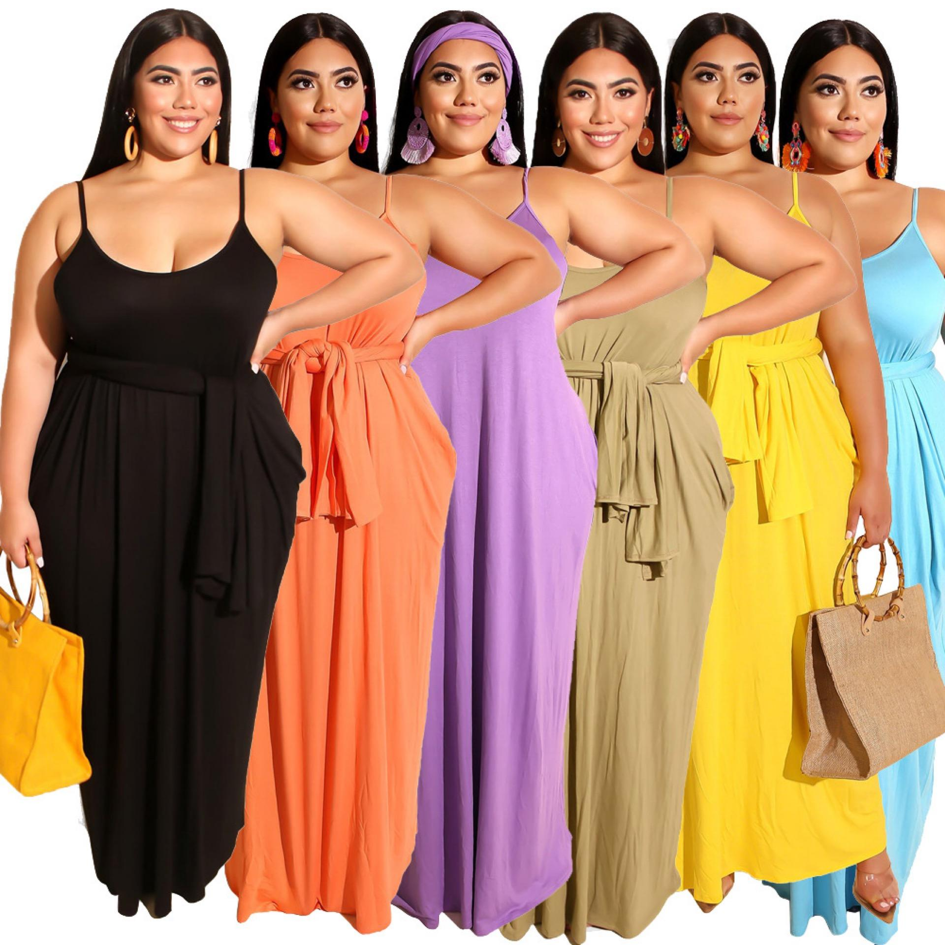 Plus size women's fashion solid color sling invisible pocket casual dress ladies dress