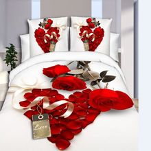 Wholesale Home Textile Newest Design Wedding Rose Bed Sheet Duvet Cover Set