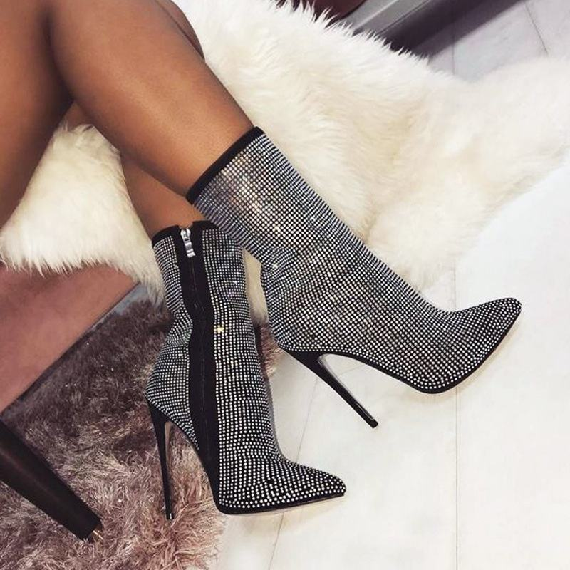 New Large size Pointed toe Rhinestone High Heel Ankle Diamond Women Boots